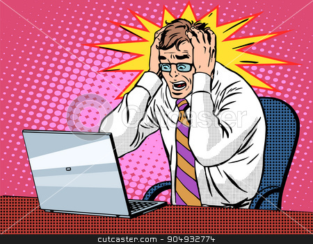 Businessman working on laptop bad news panic stock vector clipart, Businessman working on laptop pop art retro style. Bad news panic is a financial failure. Computers and office work. Man and modern technology by studiostoks