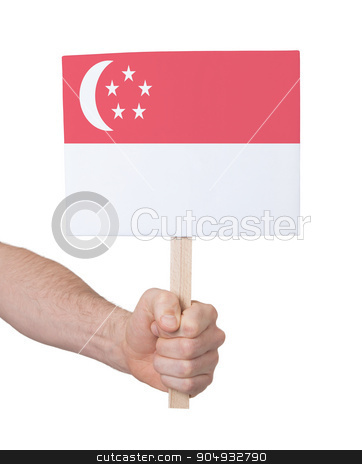 Hand holding small card - Flag of Singapore stock photo, Hand holding small card, isolated on white - Flag of Singapore by michaklootwijk