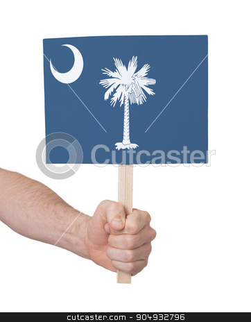 Hand holding small card - Flag of Oklahoma stock photo, Hand holding small card, isolated on white - Flag of Oklahoma by michaklootwijk