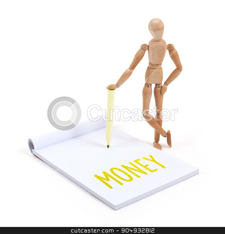 Wooden mannequin writing - Money stock photo, Wooden mannequin writing in a scrapbook - Money by michaklootwijk