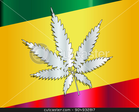 Rastafarian Flag And Leaf stock vector clipart, Rastafarian red green and yellow flag with silver leaf  by Kotto