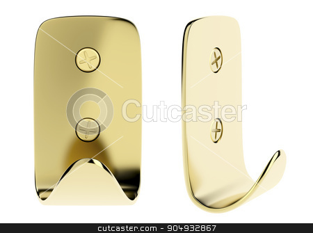 Golden wall hooks stock photo, Front and side view of golden wall hook, isolated on white background by Mile Atanasov
