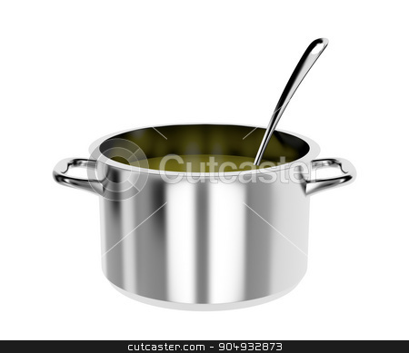 Cooking pot and ladle  stock photo, Pot with soup and ladle, isolated on white background by Mile Atanasov
