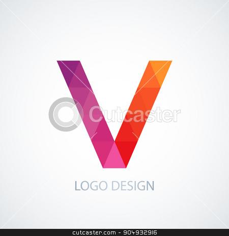 Vector illustration of colorful logo letter v stock vector clipart, Vector illustration of colorful logo letter v. by Amelisk