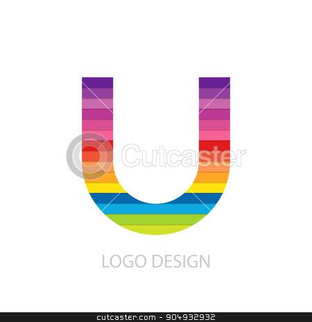 Vector illustration of colorful logo letter stock vector clipart, Vector illustration of colorful logo letter u. by Amelisk