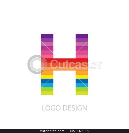 Vector illustration of colorful logo letter stock vector clipart, Vector illustration of colorful logo letter h. by Amelisk