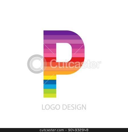 Vector illustration of colorful logo letter stock vector clipart, Vector illustration of colorful logo letter p. by Amelisk