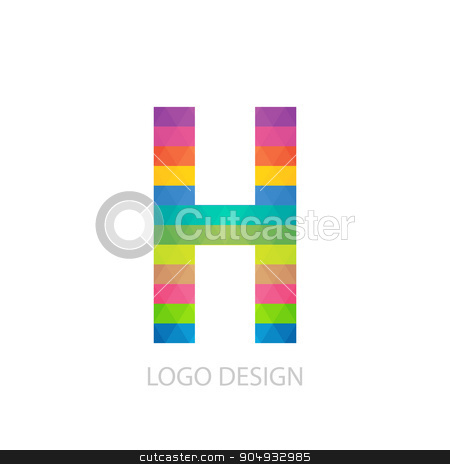 Vector illustration of colorful logo letter stock vector clipart, Vector illustration of colorful logo letter h. by Amelisk