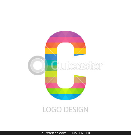 Vector illustration of colorful logo letter stock vector clipart, Vector illustration of colorful logo letter c. by Amelisk