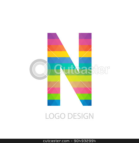 Vector illustration of colorful logo letter stock vector clipart, Vector illustration of colorful logo letter n. by Amelisk