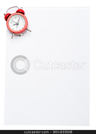 Piece of paper with alarm clock stock photo, Piece of paper with alarm clock on isolated white background by cherezoff