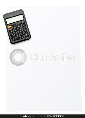 Piece of paper with calcularor stock photo, Piece of paper with calculator on isolated white background by cherezoff