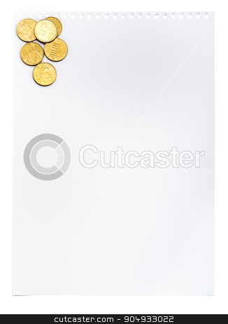 Piece of paper with coins stock photo, Piece of paper with coins on isolated white background by cherezoff