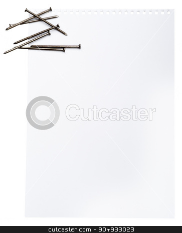Piece of paper with nails stock photo, Piece of paper with nails on isolated white background by cherezoff