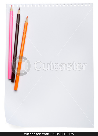 Piece of paper with crayons stock photo, Piece of paper with crayons on isolated white background by cherezoff