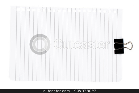 Piece of paper with clip stock photo, Piece of paper with clip on isolated white background by cherezoff
