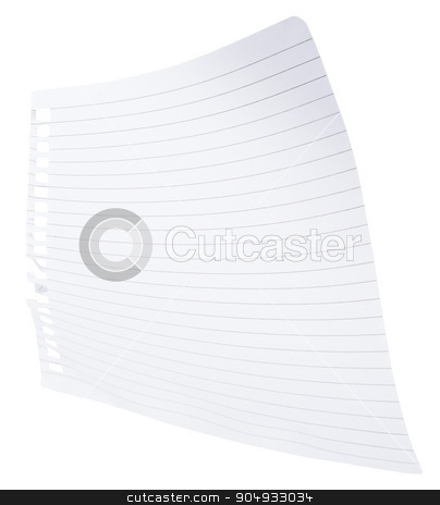 Note paper with curls stock photo, Note paper with curls on isolated white background by cherezoff