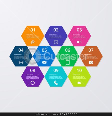 Vector illustration of infographics hexagons. stock vector clipart, Vector illustration of infographics hexagons. Stock vector by Amelisk