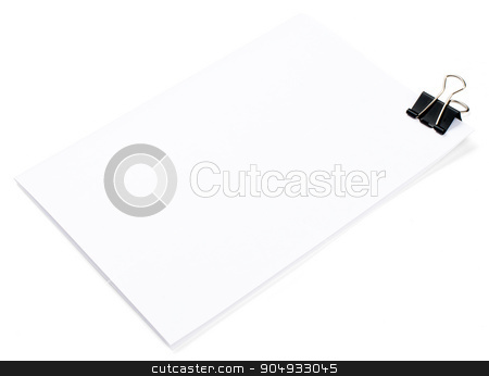 Clip and empty paper stock photo, Clip and empty paper on isolated white background by cherezoff