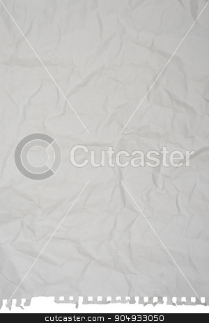 Crumpled white paper stock photo, Crumpled white paper on isolated white background by cherezoff