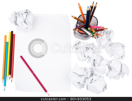 Paper with crumpled paper balls stock photo, Piece of paper with crumpled paper balls on isolated white background by cherezoff