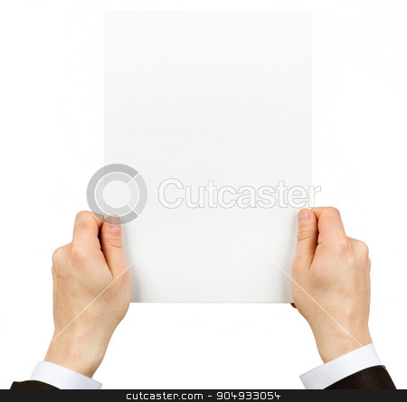 Businessman holding empty paper stock photo, Businessman holding blank paper on isolated white background by cherezoff