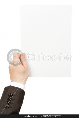 Businessman holding empty piece of paper stock photo, Businessman holding blank empty pieceof paper on isolated white background by cherezoff