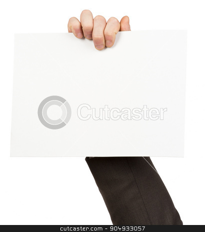 Hand holding empty paper stock photo, Hand holding blank paper on isolated white background by cherezoff