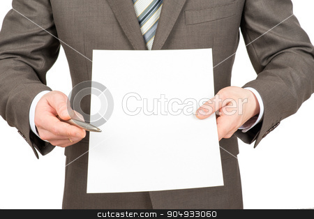 Businessman pointing at empty paper with pen stock photo, Businessman pointing with pen at blank paper on isolated white background by cherezoff