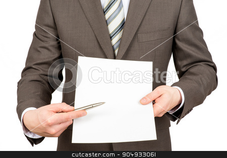 Businessman pointing at blank paper with pen  stock photo, Businessman pointing with pen at blank paper on isolated white background by cherezoff