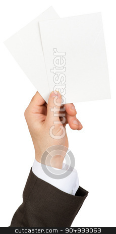 Businessman holding two small blanks paper stock photo, Businessman holding two small blanks paper on isolated white background by cherezoff