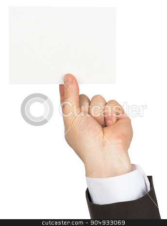 Businessman holding small empty card stock photo, Businessman holding small empty card on isolated white background by cherezoff