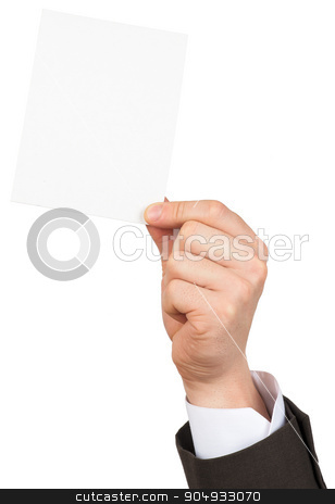 Businessman showing small blank card stock photo, Businessman showing small blank card on isolated white background by cherezoff