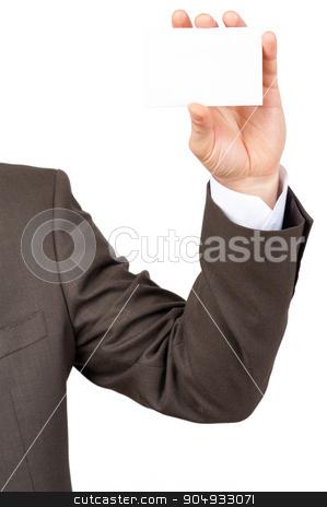 Businessman holding blank card stock photo, Businessman holding blank card on isolated white background by cherezoff