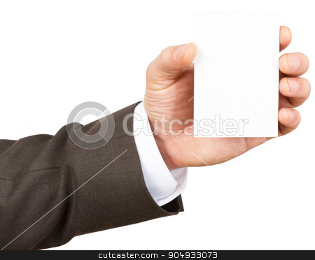 Businessman holding blank card stock photo, Businessman holding blank card on isolated white background, closeup by cherezoff