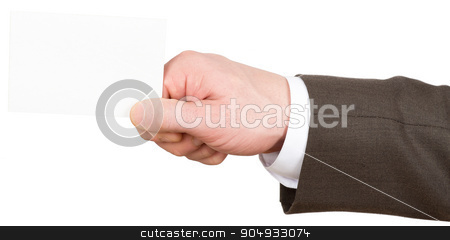 Businessman holding small empty card stock photo, Businessman holding small empty card on isolated white background, closeup by cherezoff