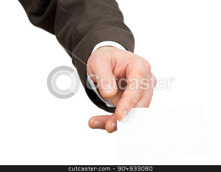 Businessman holding small empty paper stock photo, Businessman holding small empty paper on isolated white background, closeup by cherezoff