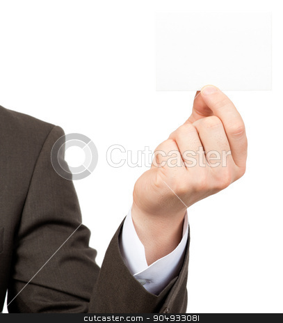 Businessman showing small blank card stock photo, Businessman showing small blank card on isolated white background, closeup by cherezoff