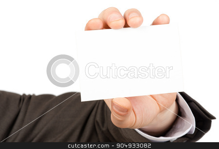 Businessman showing small blank paper stock photo, Businessman showing small blank paper on isolated white background, closeup by cherezoff