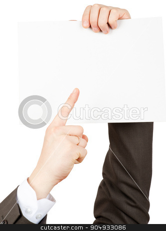 Businessman pointimg at small blank paper stock photo, Businessman pointing at small blank paper on isolated white background by cherezoff