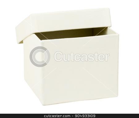 Open white box stock photo, Open white carton box on isolated white background, closeup by cherezoff