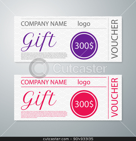 Vector illustration gift voucher template stock vector clipart, Vector illustration gift voucher template. Stock vector by Amelisk