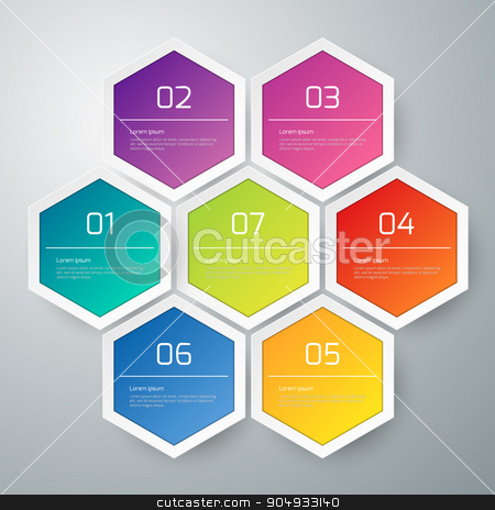Vector illustration infographics hexagons stock vector clipart, Vector illustration infographics the hexagons with shadows. by Amelisk