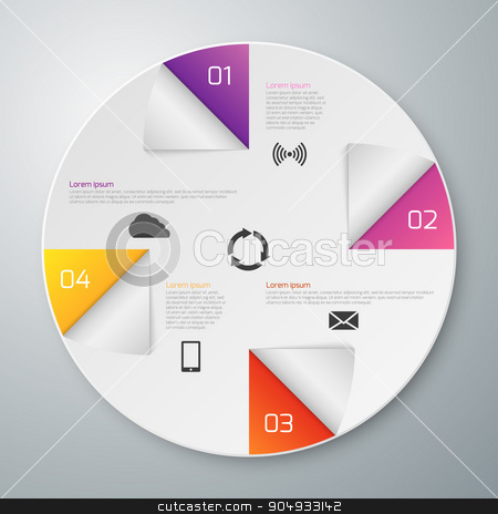 Vector illustration infographics stock vector clipart, Vector illustration of a paper circle with infographics sectors. by Amelisk
