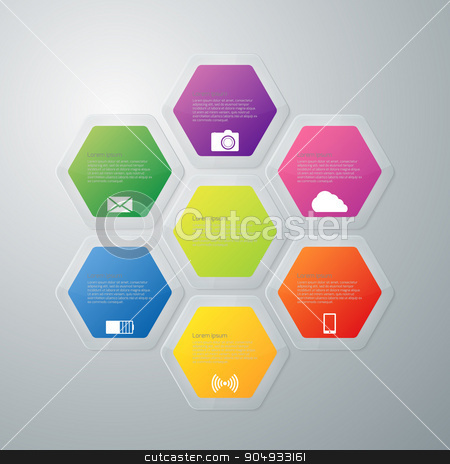 Vector illustration infographics stock vector clipart, Vector illustration infographics hexagons with shadows. Stock vector by Amelisk