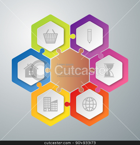 Vector illustration infographics stock vector clipart, Vector illustration infographics hexagons connected puzzle. Stock vector by Amelisk
