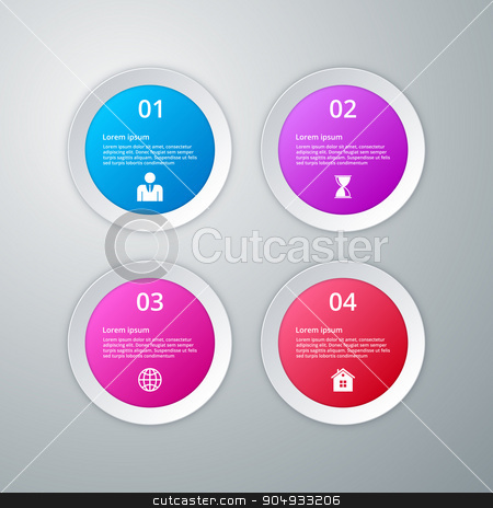Vector illustration infographics four circles stock vector clipart, Vector illustration infographics four circles. Stock vector by Amelisk