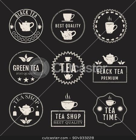 Vector illustration set of logos stock vector clipart, Vector illustration set of logos on the theme of tea. by Amelisk