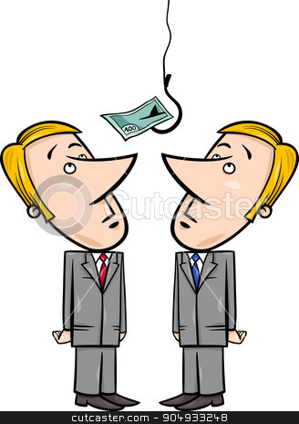 businessmen and money bait stock vector clipart, Concept Cartoon Illustration of Two Businessmen Looking up on Money Bait on Fishing Hook by Igor Zakowski