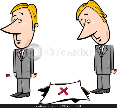businessman and the trap stock vector clipart, Concept Cartoon Illustration of Businessman and the Trap by Igor Zakowski